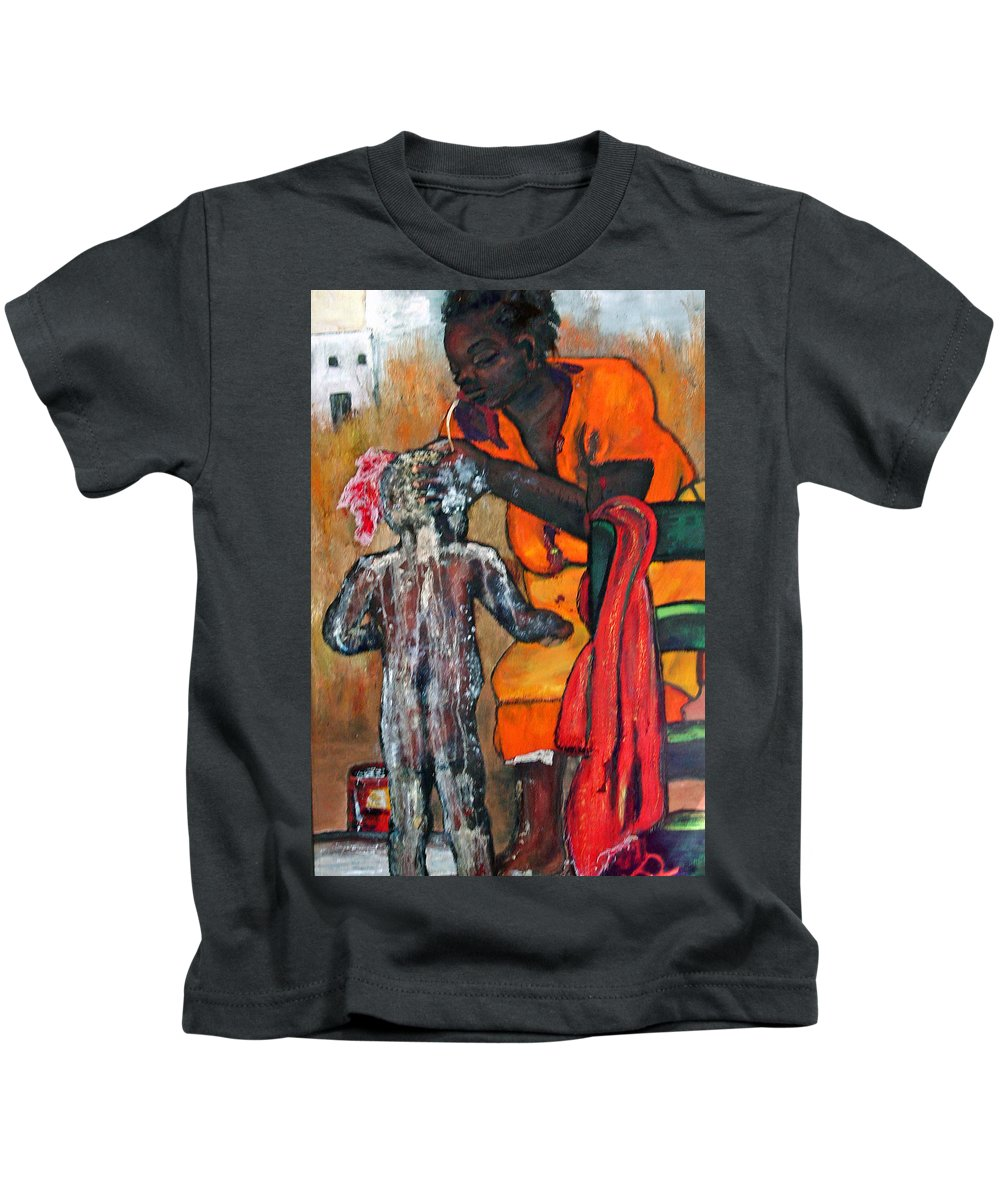 Mom Bathing Boy Kids T-Shirt featuring the painting Saturday Night Bath by Peggy Blood