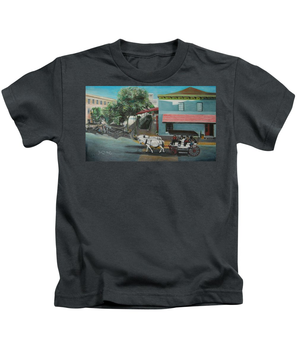 Kids T-Shirt featuring the painting Savannah City Market by Jude Darrien