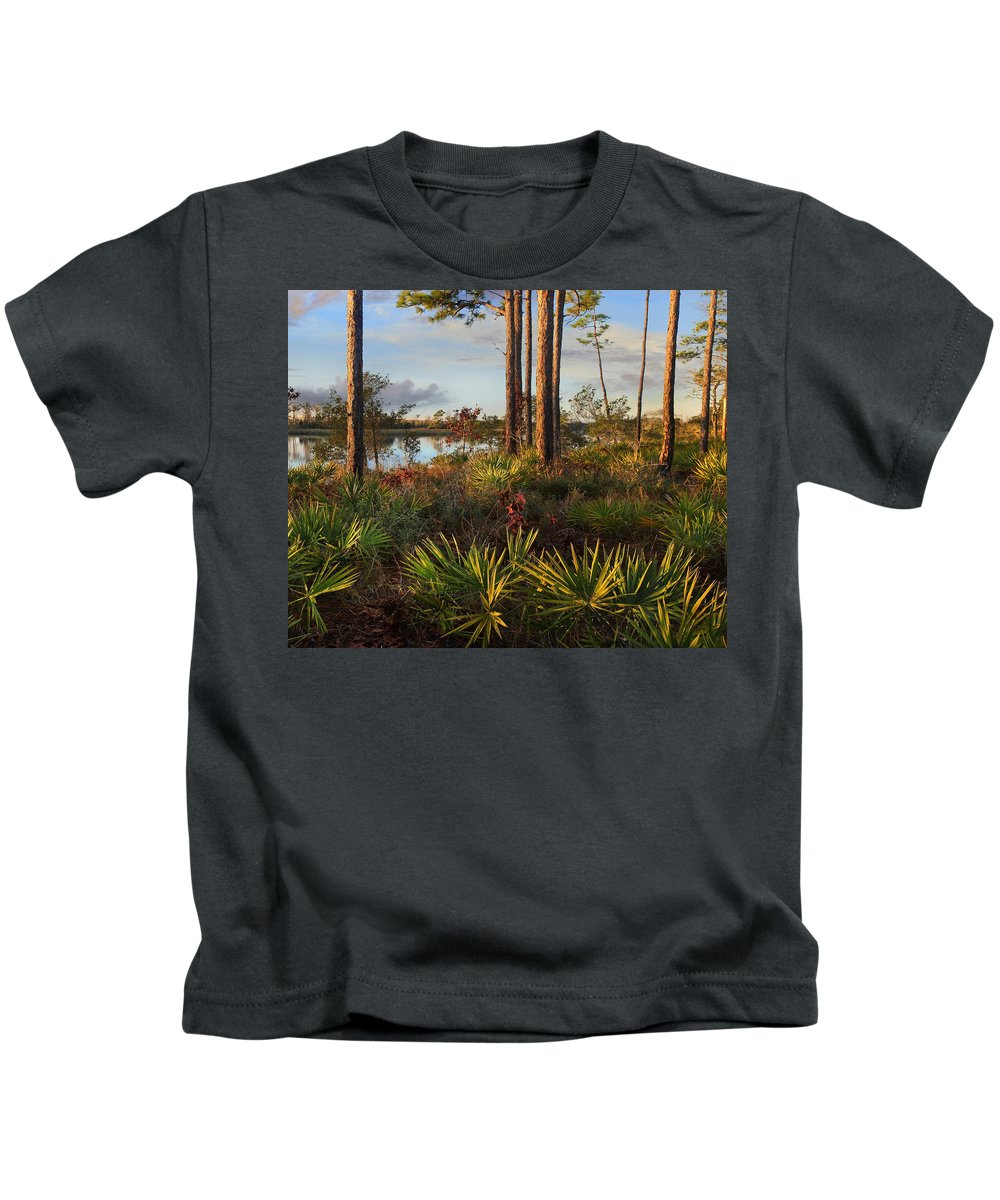 Tim Fitzharris Kids T-Shirt featuring the photograph Saw Palmetto And Longleaf Pine by Tim Fitzharris