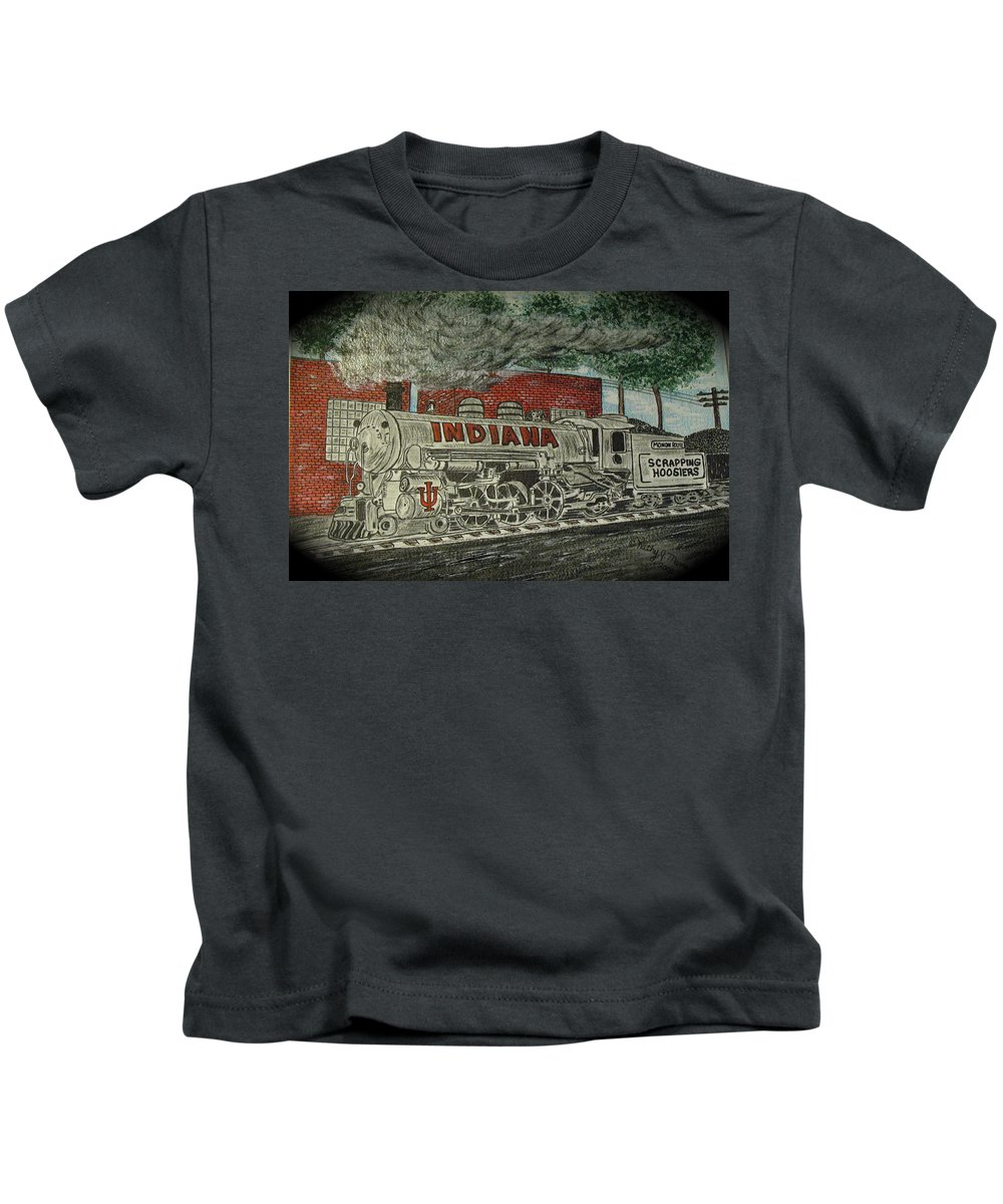 Scrapping Hoosiers Kids T-Shirt featuring the painting Scrapping Hoosiers Indiana Monon Train by Kathy Marrs Chandler