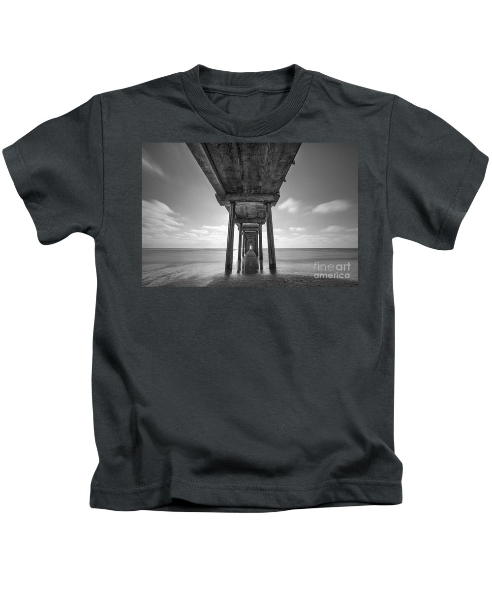 Michael Ver Sprill Kids T-Shirt featuring the photograph Scripps Pier La Jolla Long Exposure Bw by Michael Ver Sprill