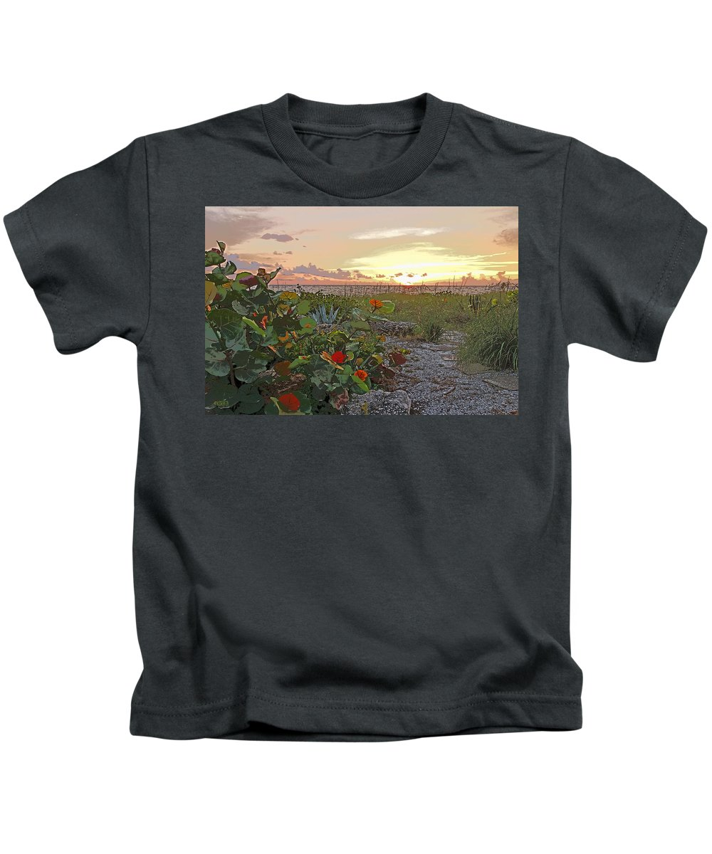Sea Grapes Kids T-Shirt featuring the photograph Sea Grapes And Sunset Sanibel Island by Rebecca Korpita