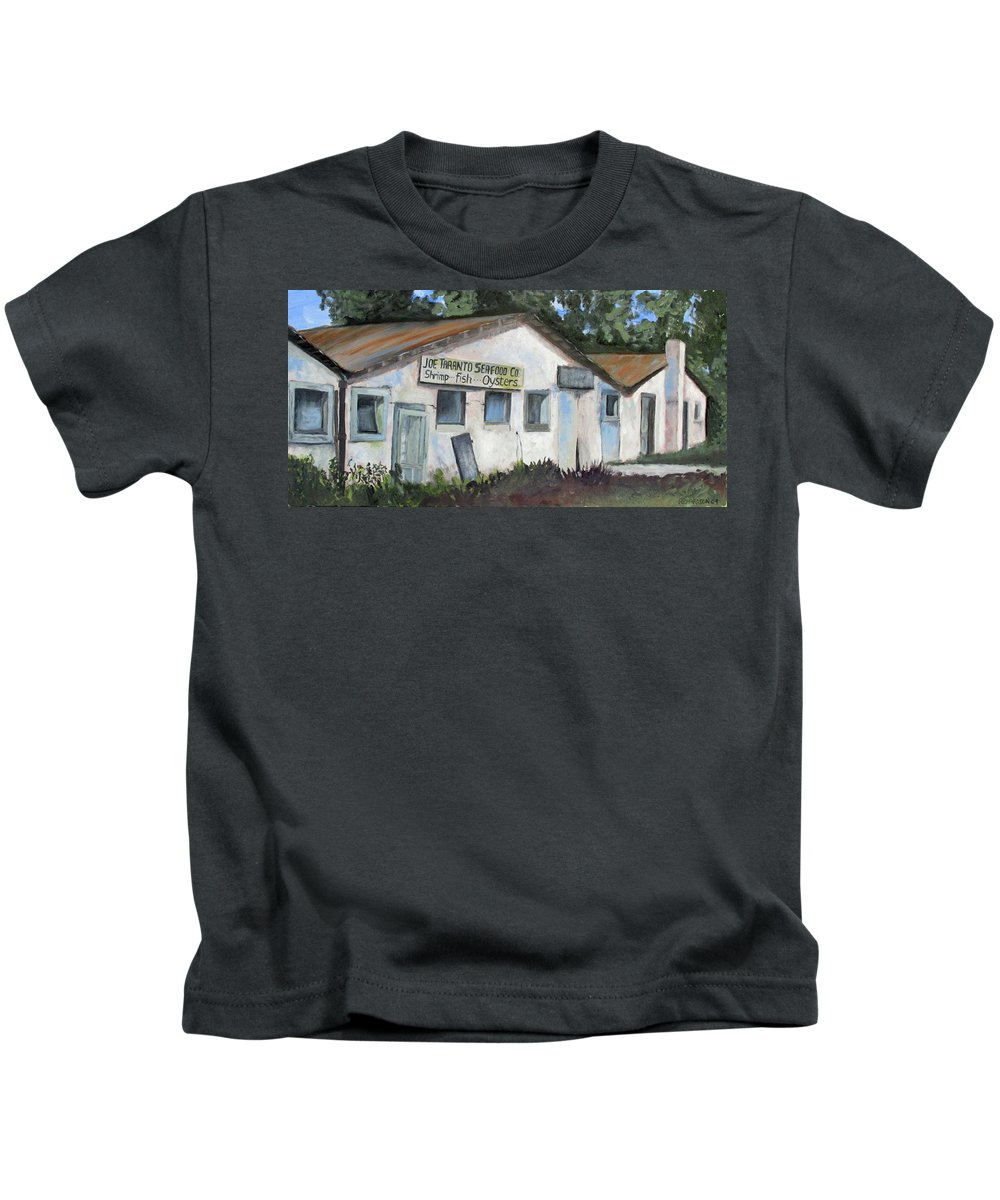Shrimp House Kids T-Shirt featuring the painting Seafood House Apalach by Susan Richardson
