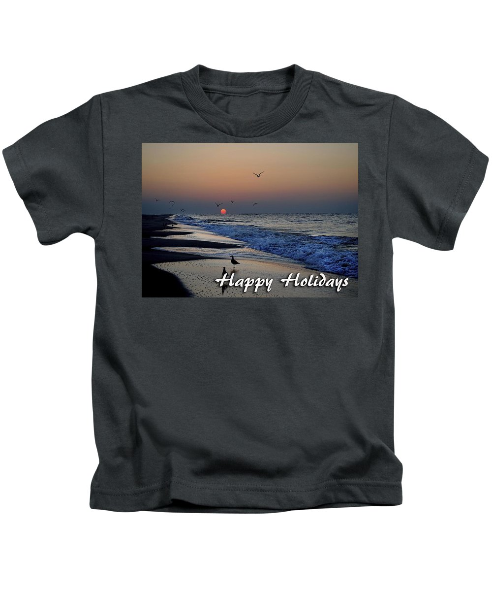Christmas Kids T-Shirt featuring the digital art Seagull Sunrise by Michael Thomas