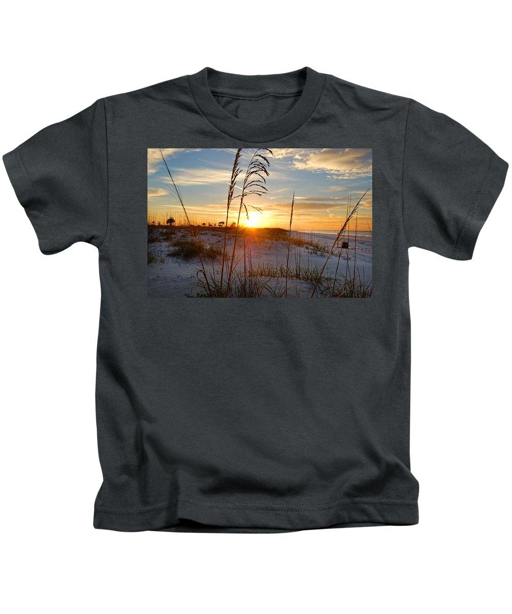 Palm Kids T-Shirt featuring the digital art Seaoats Sunrise by Michael Thomas