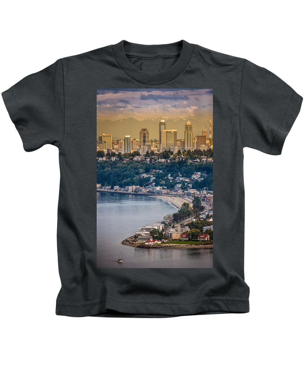 Seattle Kids T-Shirt featuring the photograph Seattle From The Air by Mike Penney