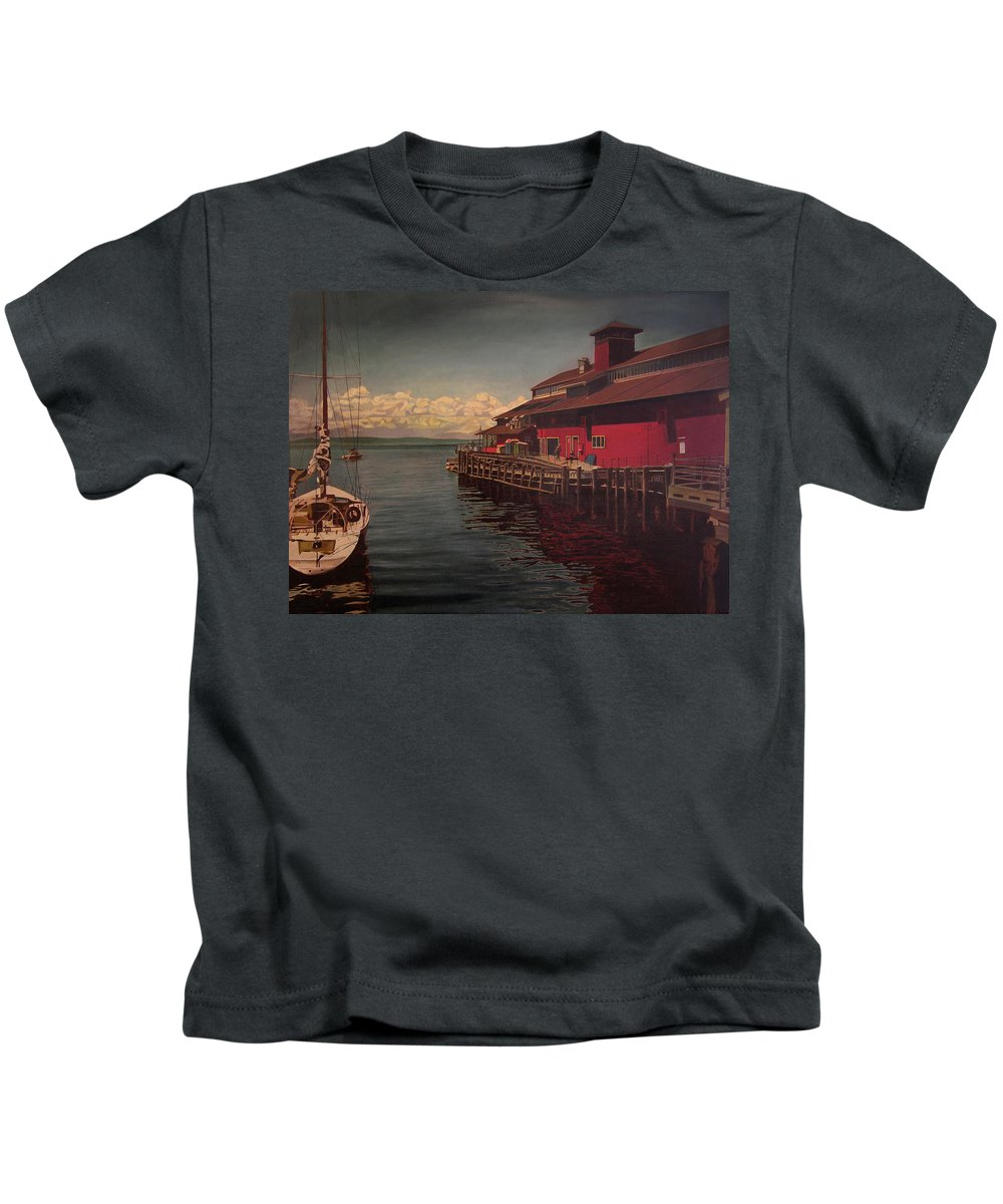 Marina Kids T-Shirt featuring the painting Seattle Waterfront by Thu Nguyen