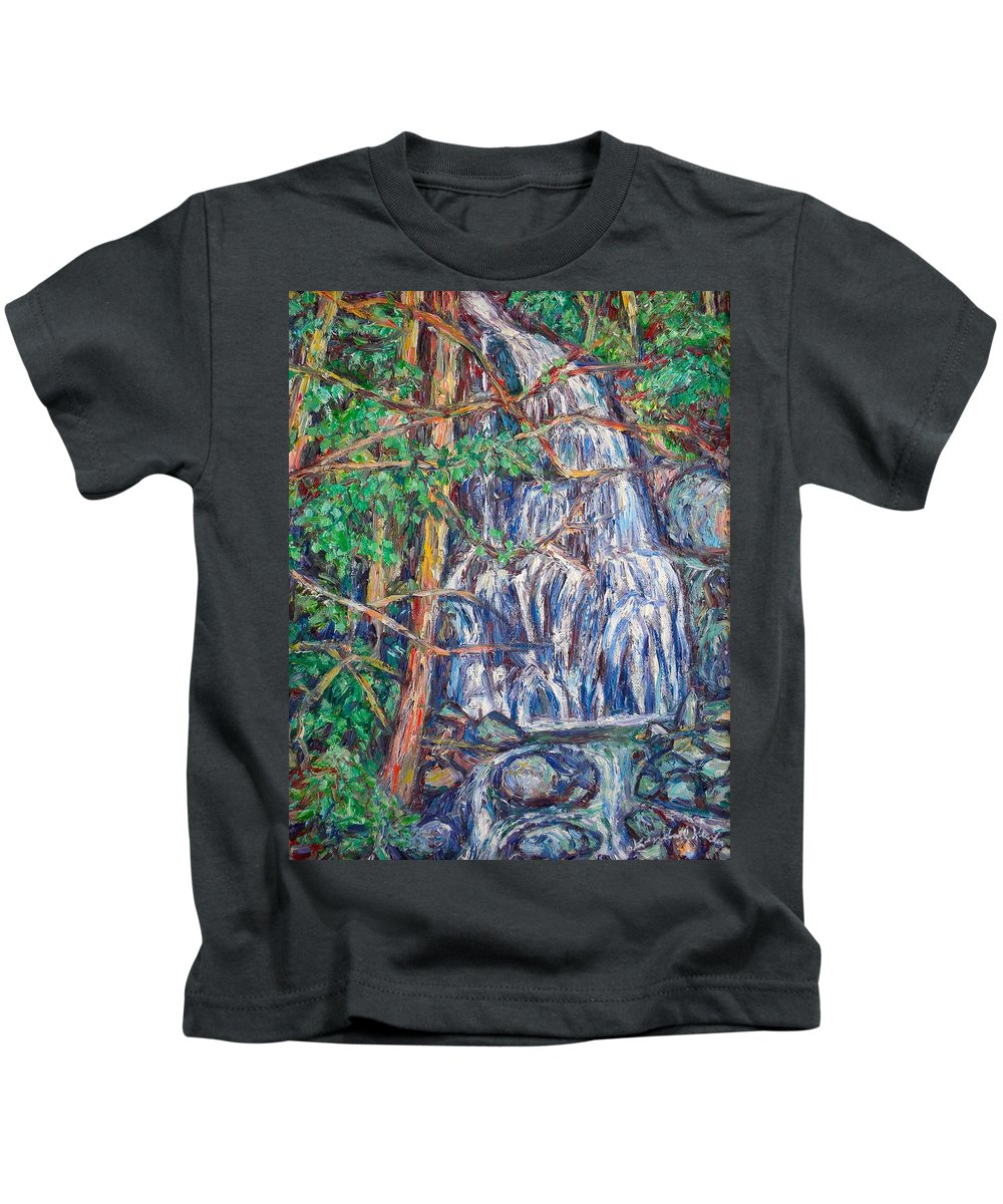 Waterfall Kids T-Shirt featuring the painting Secluded Waterfall by Kendall Kessler