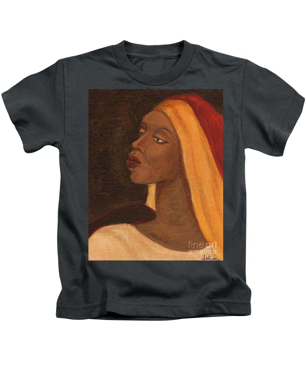 An African Woman Kids T-Shirt featuring the painting Semi-abstract- Woman by Asha Sudhaker Shenoy