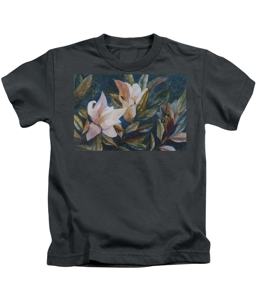 Magnolias; Humming Bird Kids T-Shirt featuring the painting Serenity by Ben Kiger
