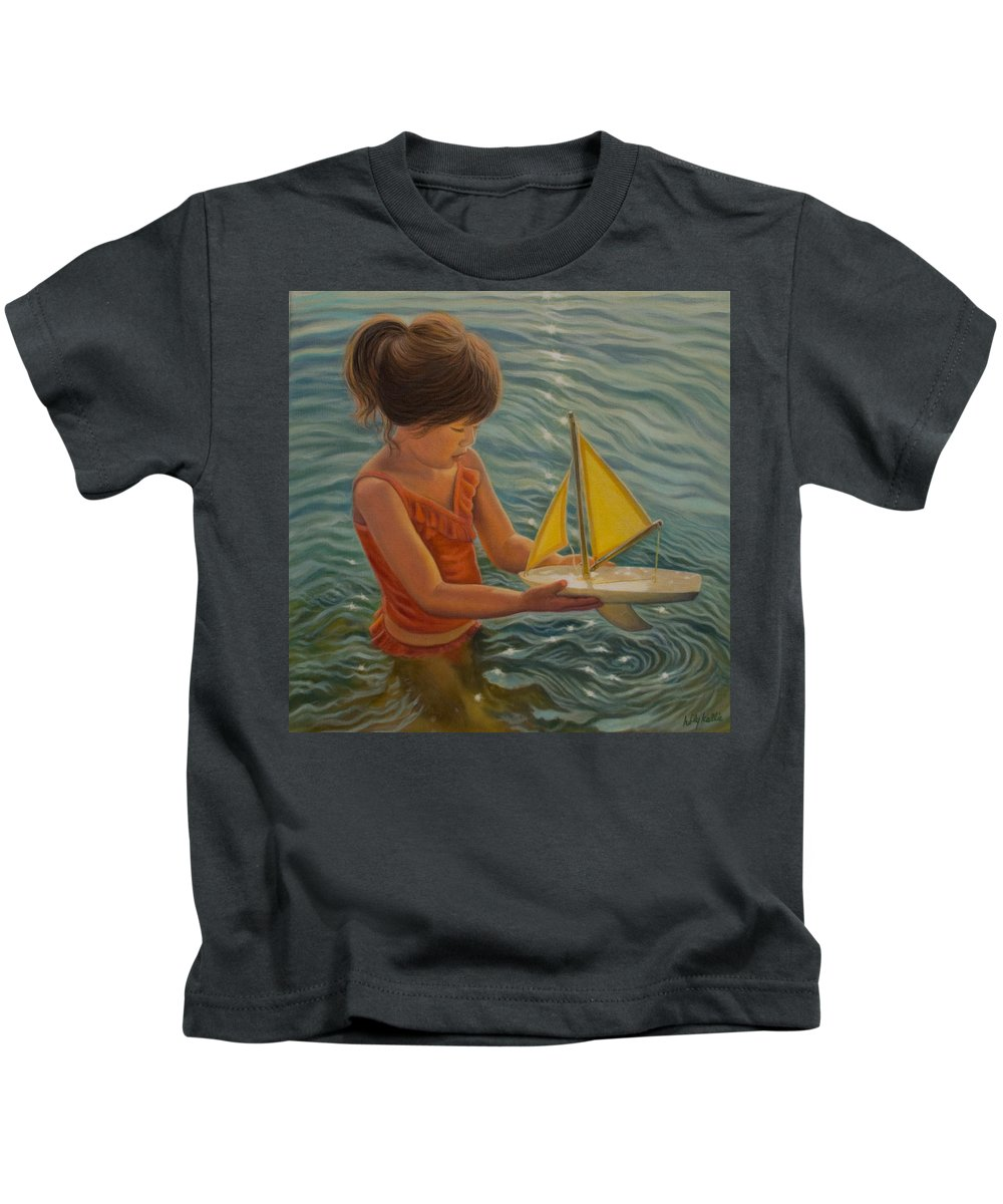 Realism Kids T-Shirt featuring the painting Setting Sail by Holly Kallie