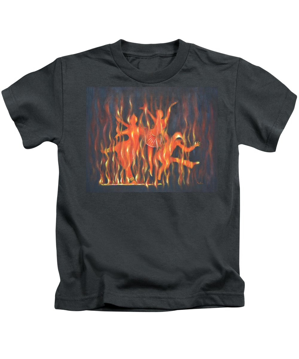 Dance Kids T-Shirt featuring the painting Setting The Stage On Fire by Usha Shantharam