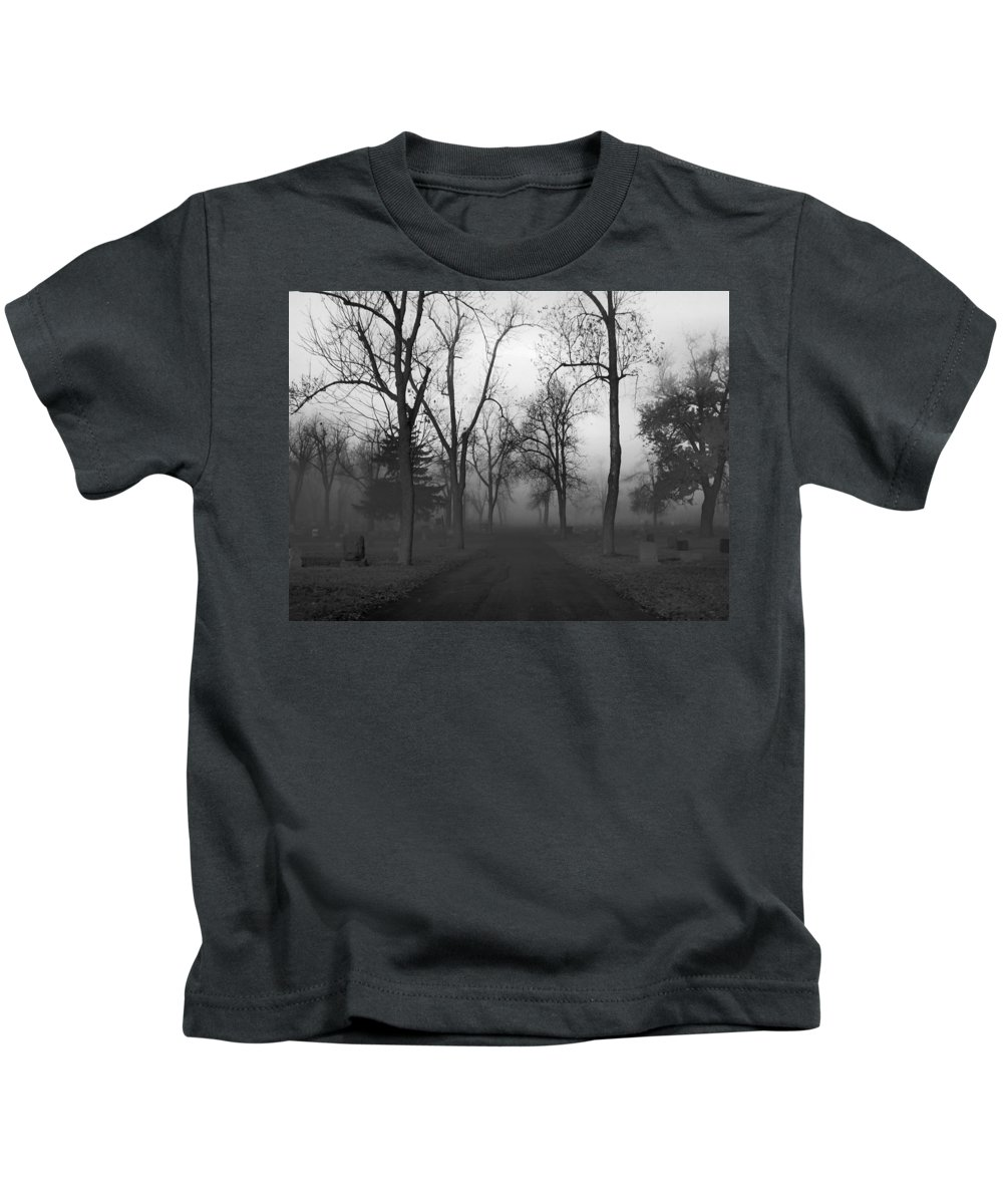 Dark Foggy Graveyard Kids T-Shirt featuring the photograph Settling Fog by Gothicrow Images