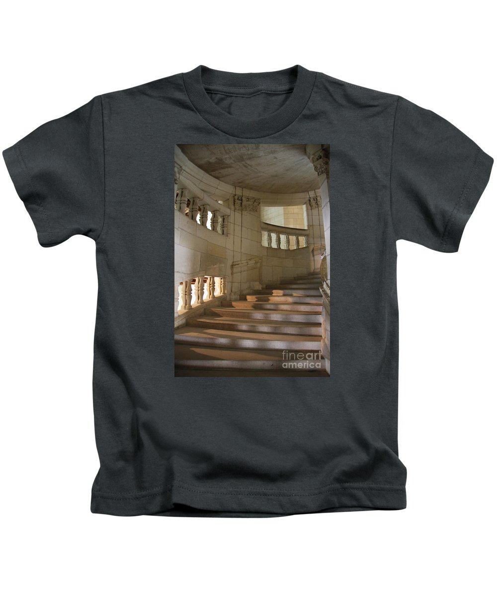 Staircase Kids T-Shirt featuring the photograph Shadows On Chateau Chambord Stairs by Christiane Schulze Art And Photography