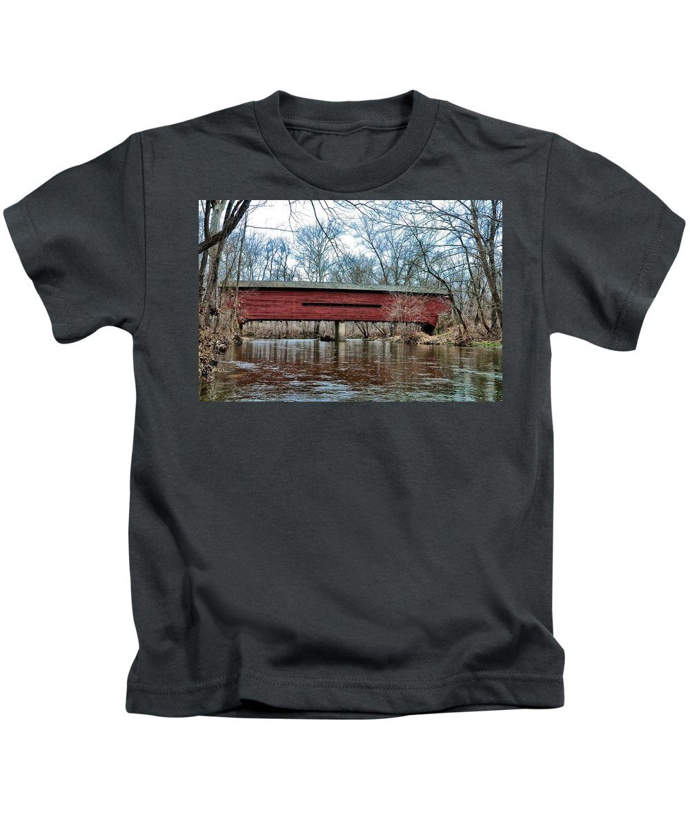 Sheeder Kids T-Shirt featuring the photograph Sheeder - Hall - Covered Bridge Chester County Pa by Bill Cannon