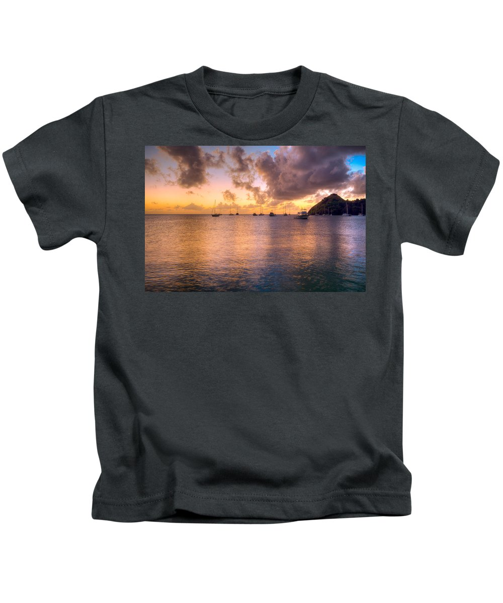 Saint Lucia Kids T-Shirt featuring the photograph Sherri's Sunset by Ferry Zievinger