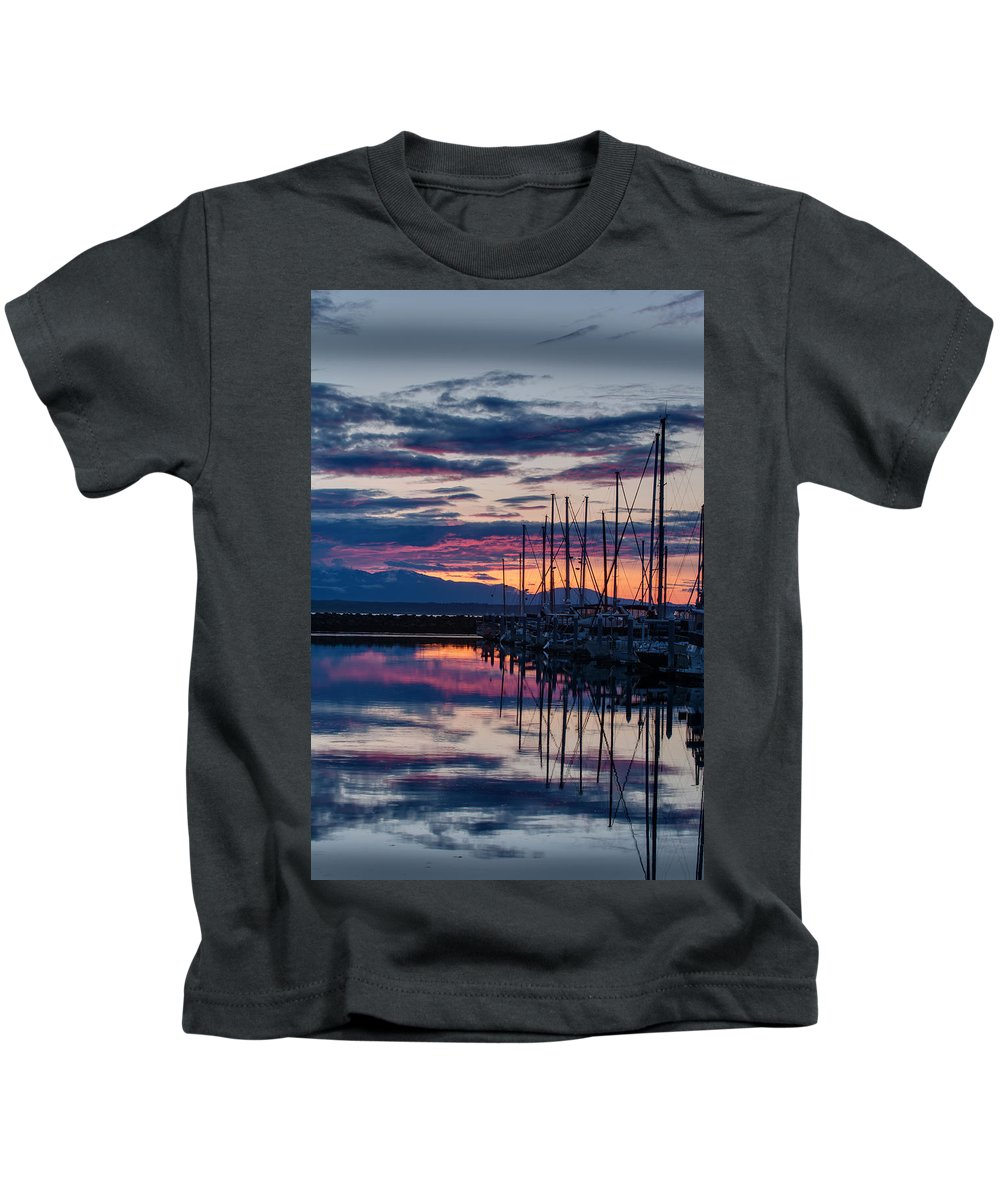 Shilshole Kids T-Shirt featuring the photograph Shilshole Olympic Mountains Sunset Vertical by Mike Reid