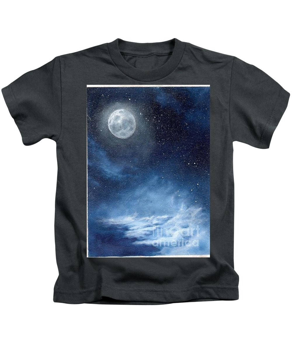 Cosmos Kids T-Shirt featuring the painting Shimmer by Murphy Elliott