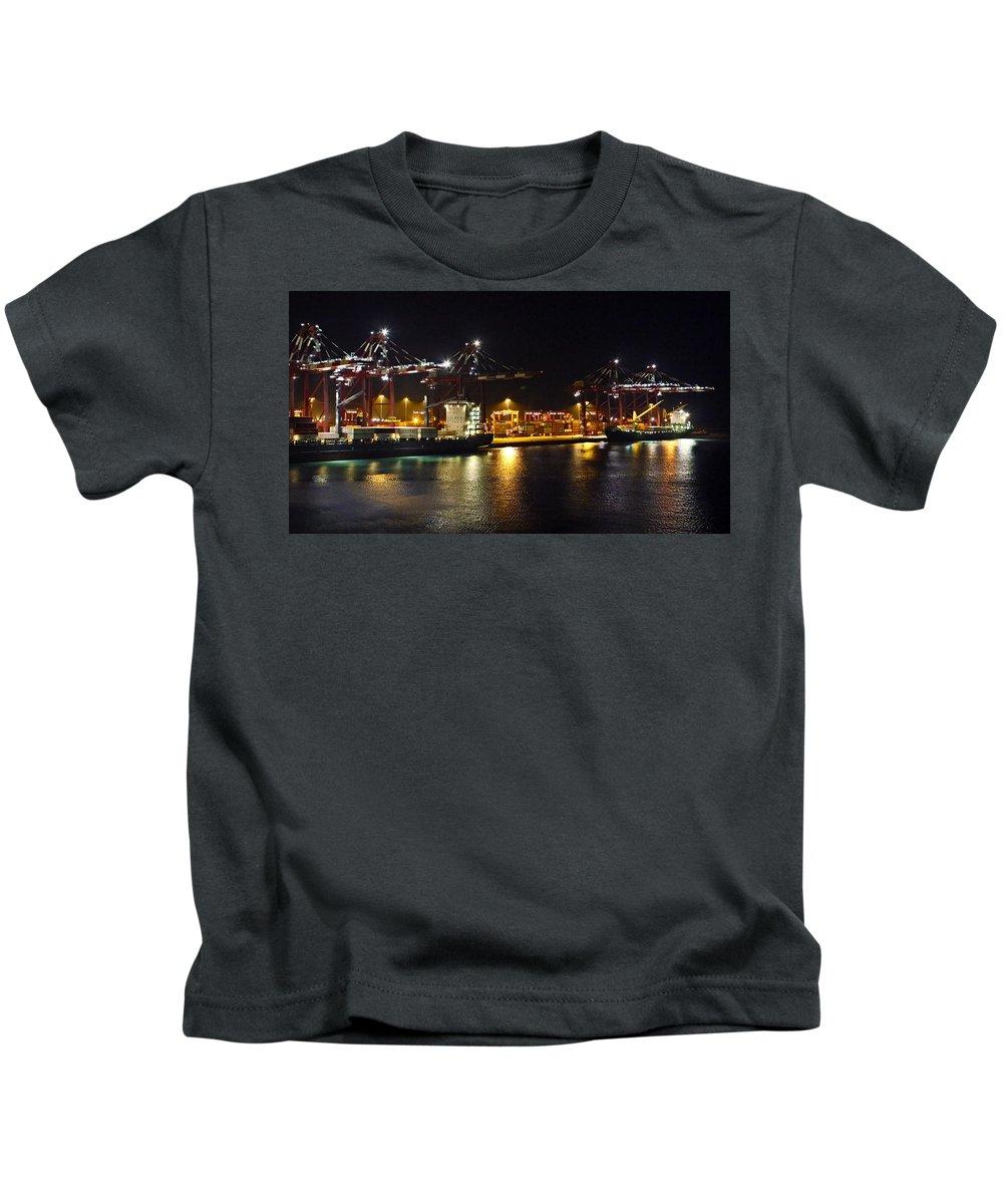 Shipyard Kids T-Shirt featuring the photograph Shipyards 2 Callao Port Lima Peru by Kurt Van Wagner