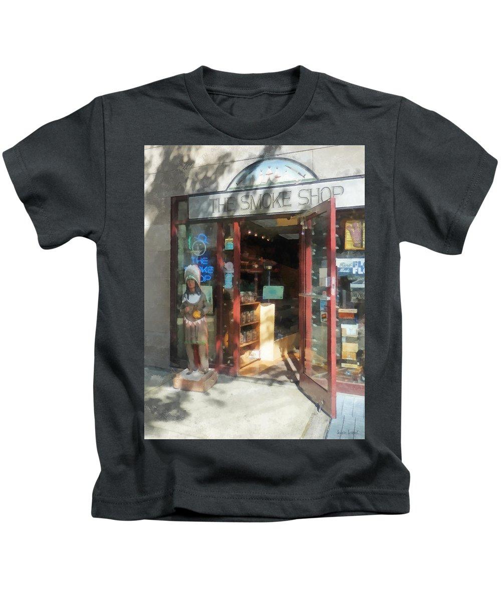 Cigar Store Indian Kids T-Shirt featuring the photograph Shopfronts - Smoke Shop by Susan Savad