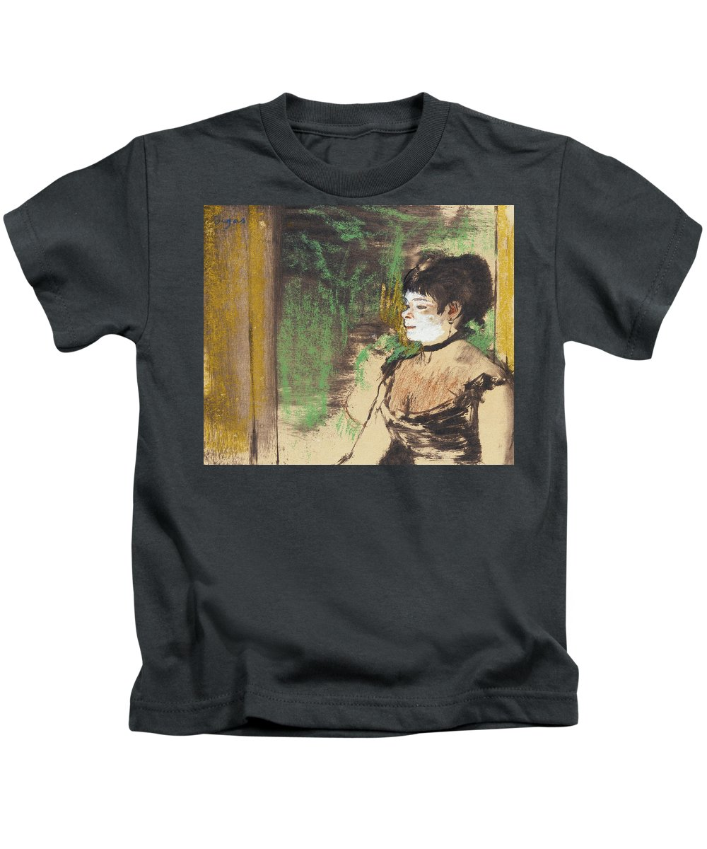 Edgar Degas Kids T-Shirt featuring the drawing Singer In A Cafe Concert by Edgar Degas