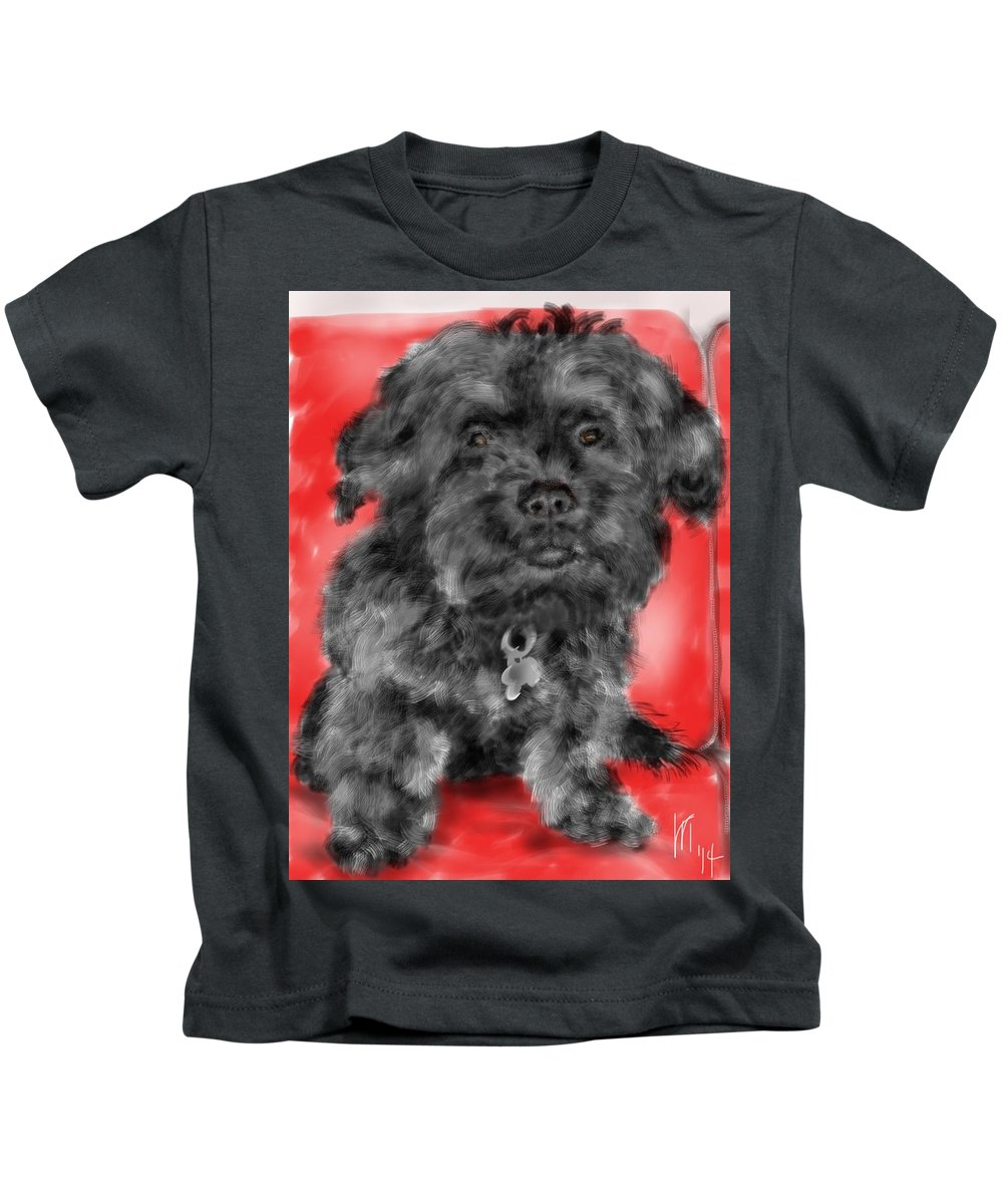 Animal Kids T-Shirt featuring the painting Sitting Pretty by Lois Ivancin Tavaf