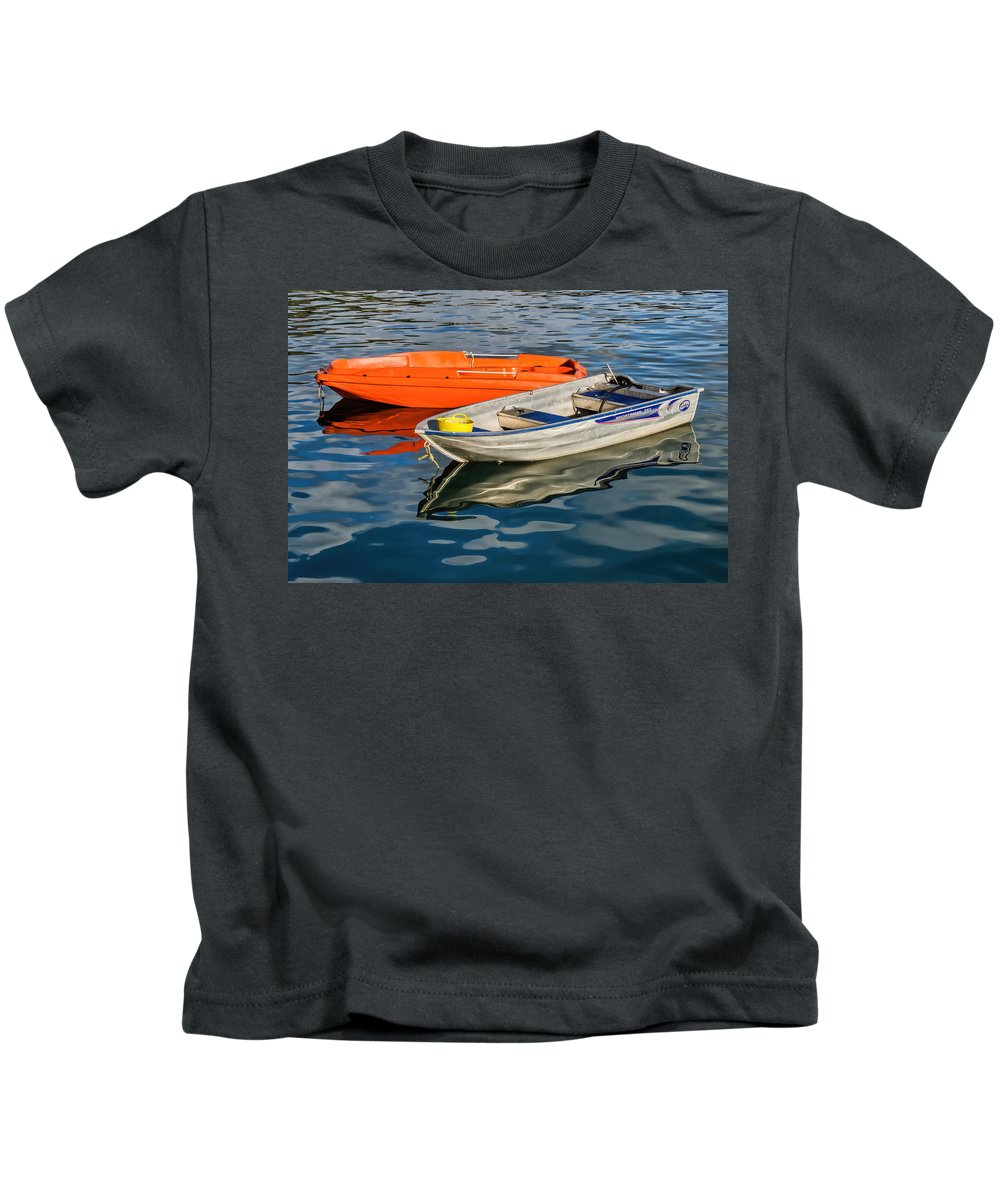 Boat Kids T-Shirt featuring the photograph Skiffs At The Harbour by Susie Peek