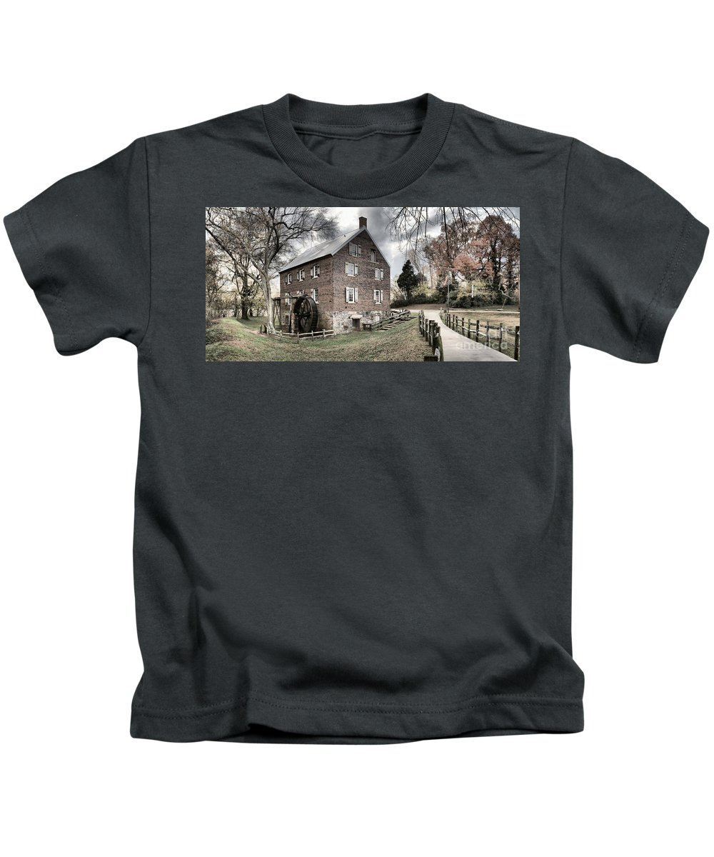 Grist Mill Kids T-Shirt featuring the photograph Sloan Park Walkway To The Past by Adam Jewell