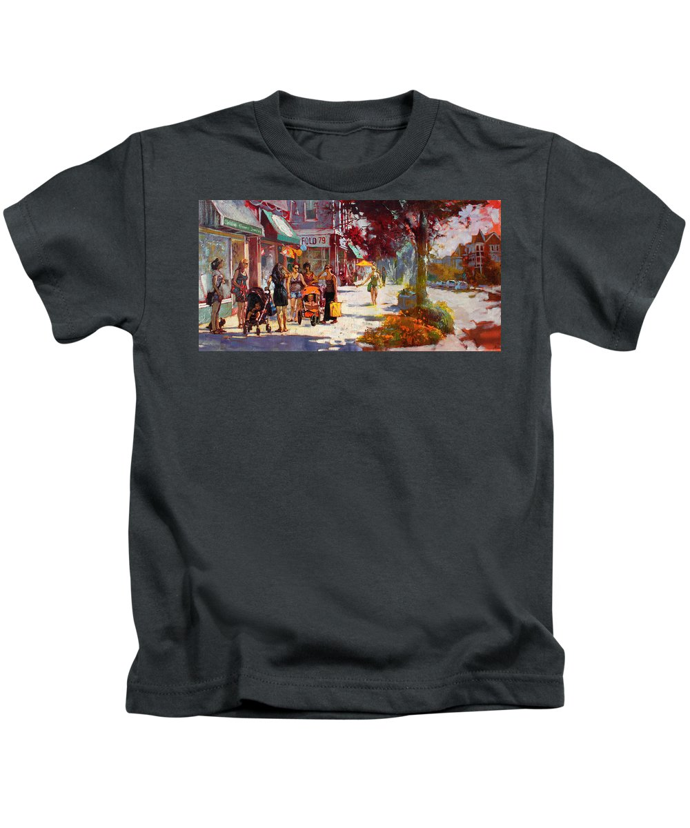 Landscape Kids T-Shirt featuring the painting Small Talk in Elmwood Ave by Ylli Haruni