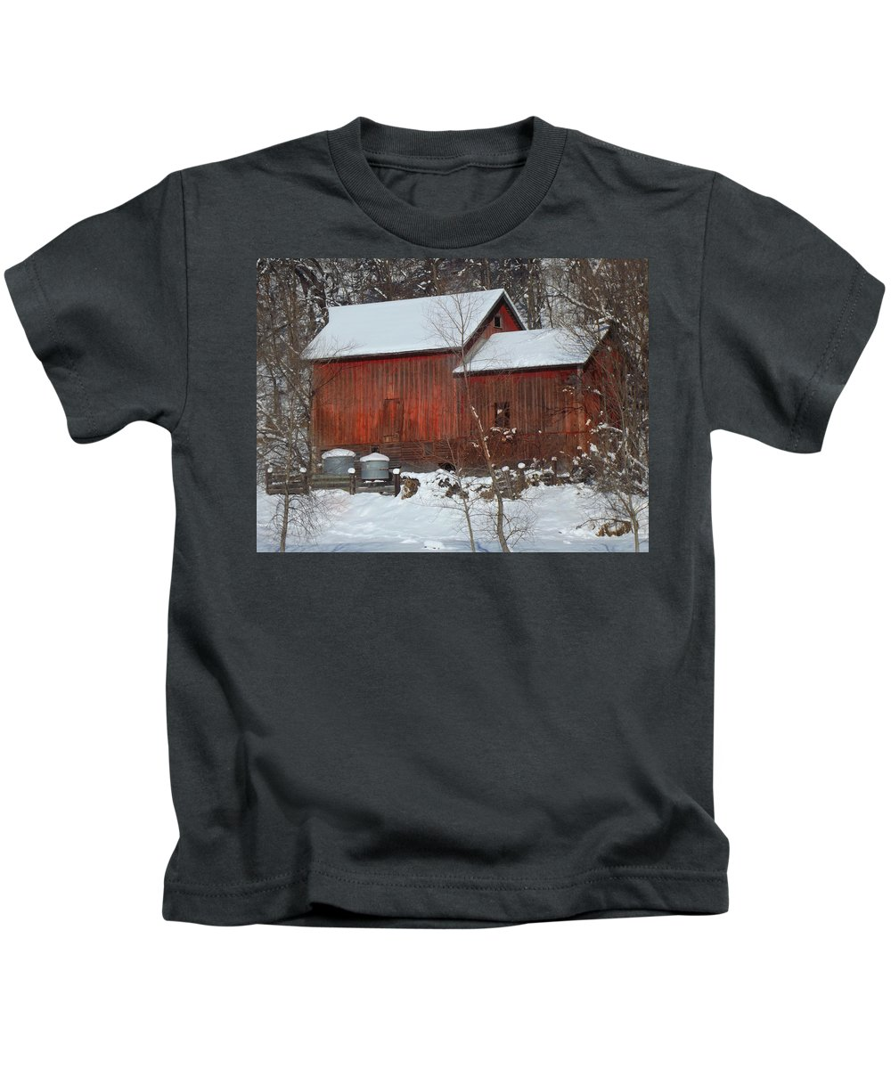 Barn Kids T-Shirt featuring the photograph Snow Barn by Bonfire Photography