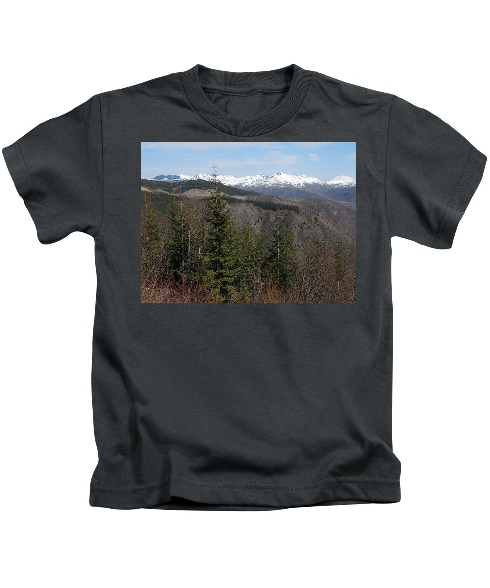 Mountains Kids T-Shirt featuring the photograph Snow Capped View by Teresa A Lang
