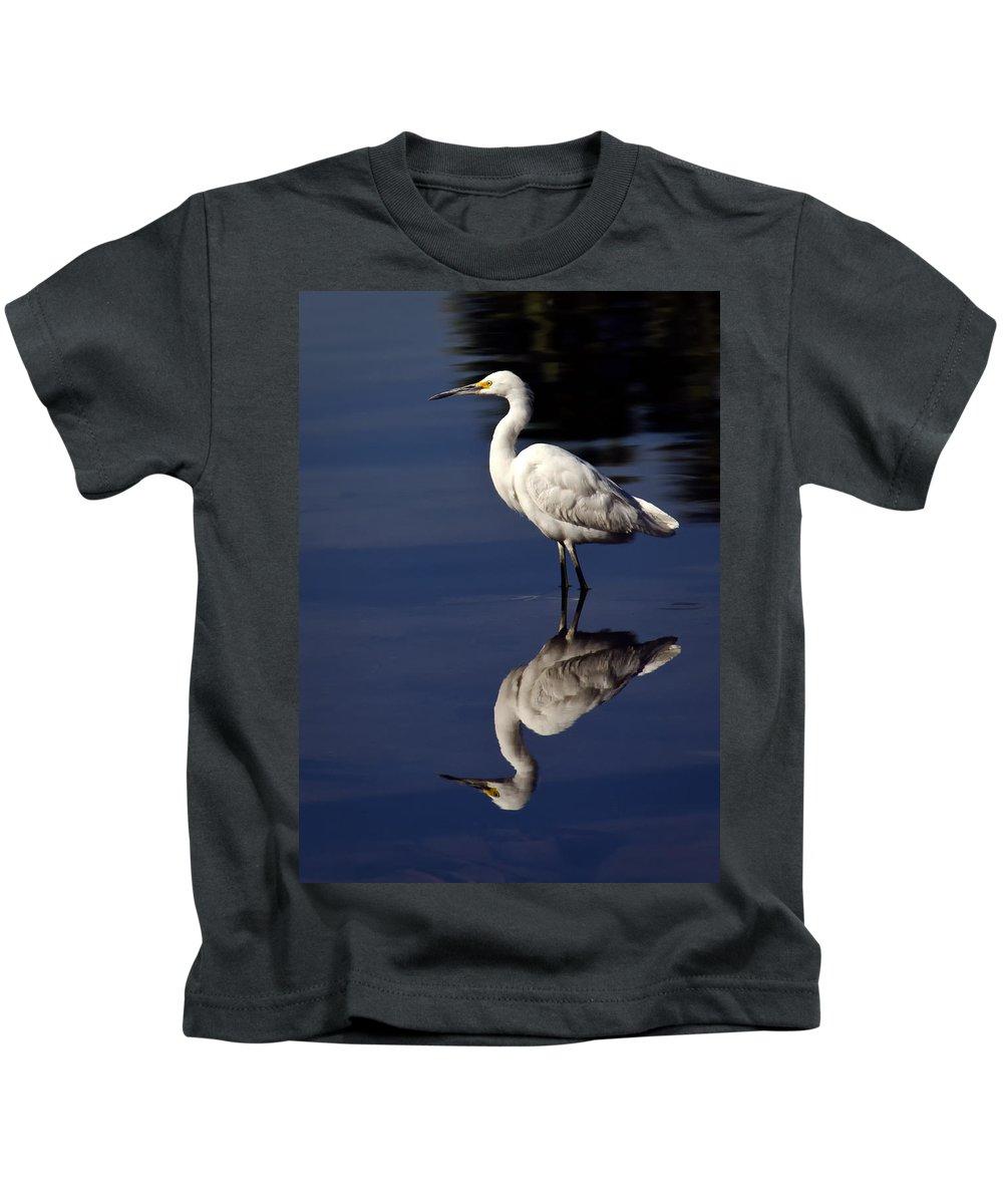 Snowy Egret Kids T-Shirt featuring the photograph Snowy Egret Reflection by Saija Lehtonen