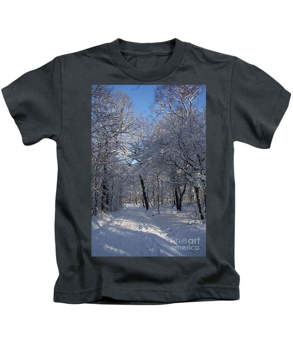 Forest Kids T-Shirt featuring the photograph Snowy Trail by Christiane Schulze Art And Photography