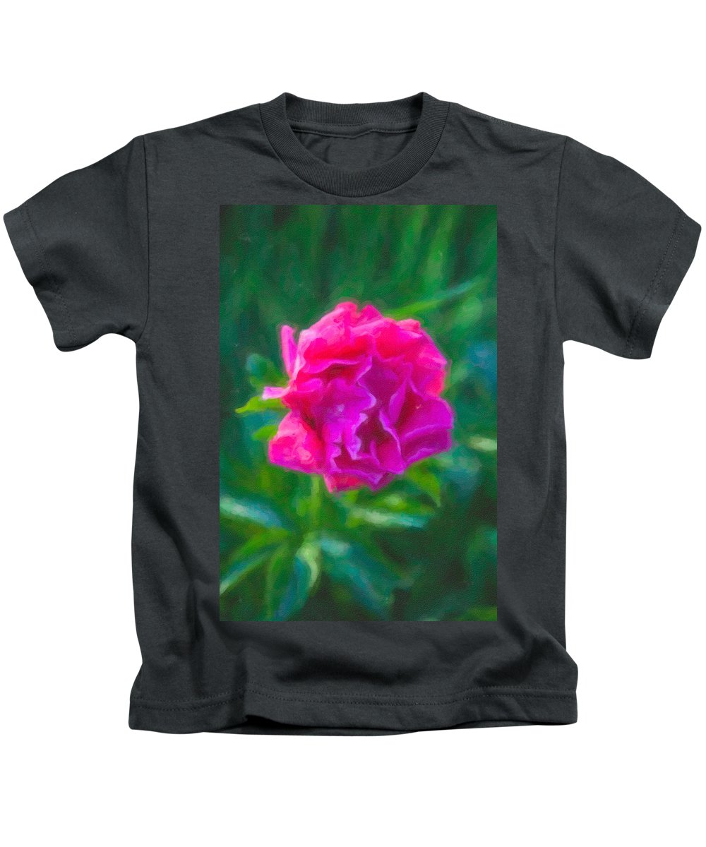 North Cascades Kids T-Shirt featuring the painting Soft Pink Peony by Omaste Witkowski