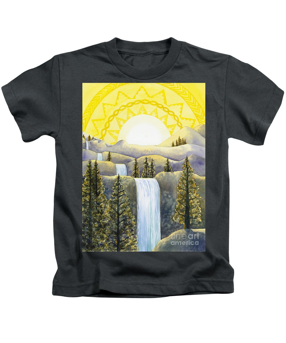 Power Kids T-Shirt featuring the painting Solar Plexus Chakra by Catherine G McElroy
