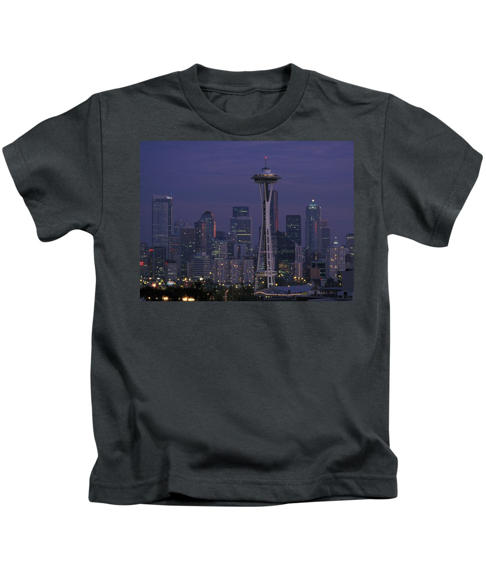 Space Needle Kids T-Shirt featuring the photograph Space Needle At Twilight by John Clark