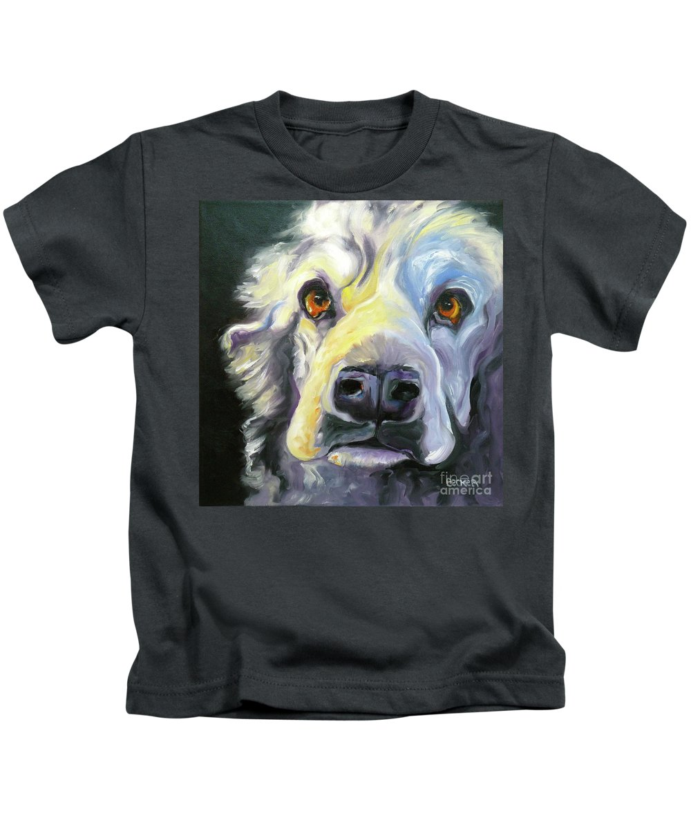 Dogs Kids T-Shirt featuring the painting Spaniel In Thought by Susan A Becker