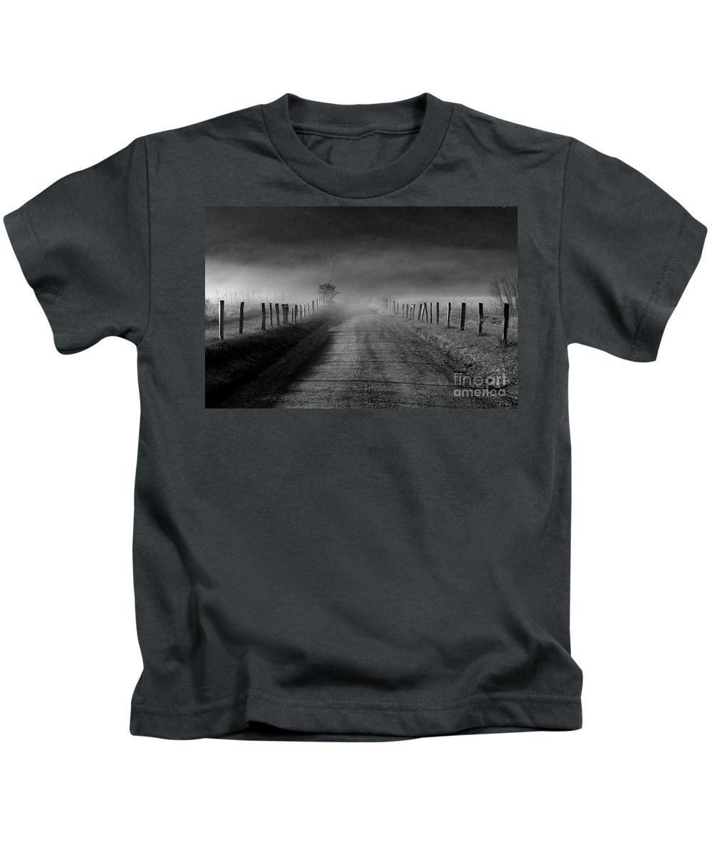 Fence Kids T-Shirt featuring the photograph Sparks Lane In Black And White by Douglas Stucky