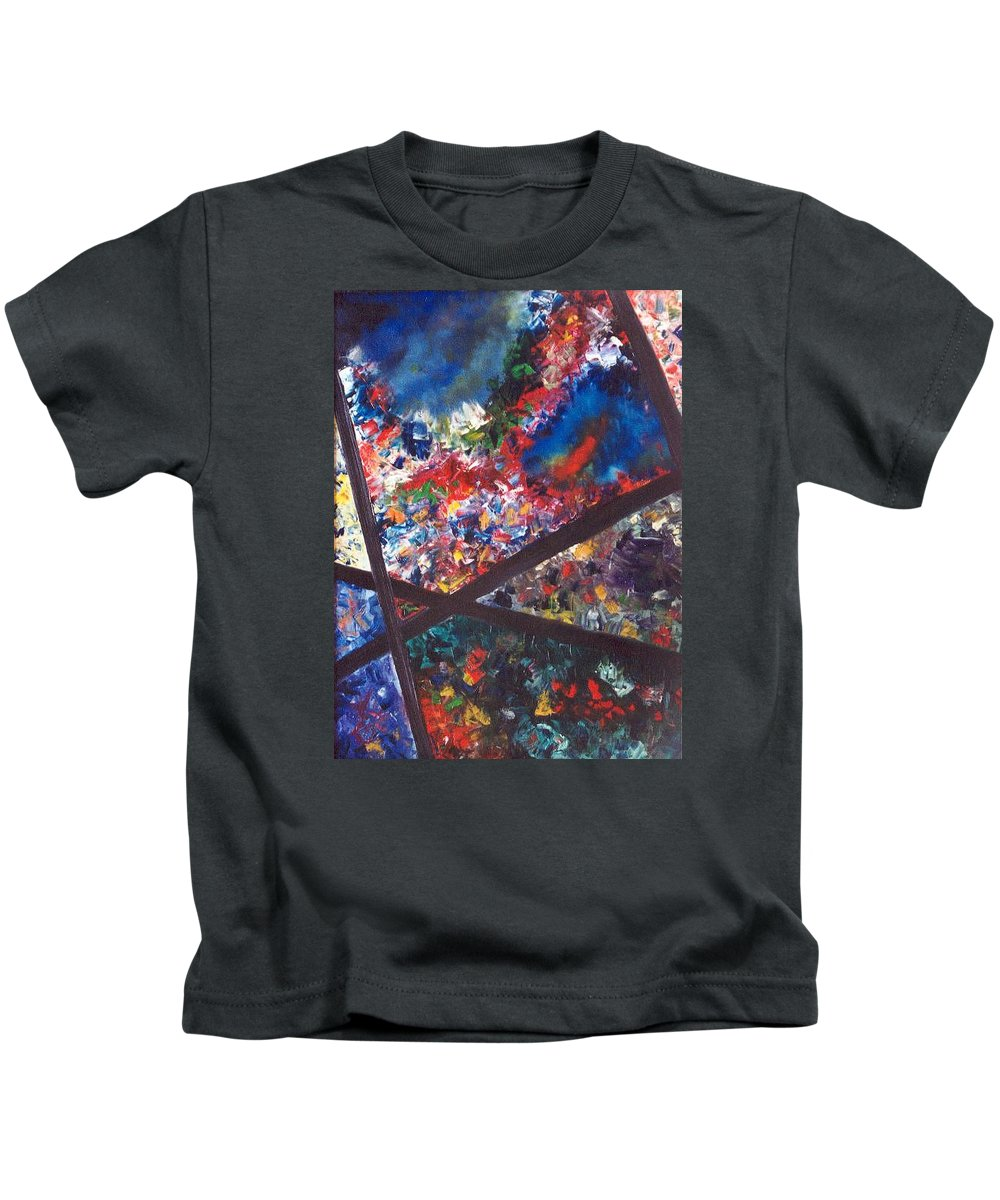 Abstract Kids T-Shirt featuring the painting Spectral Chaos by Micah Guenther