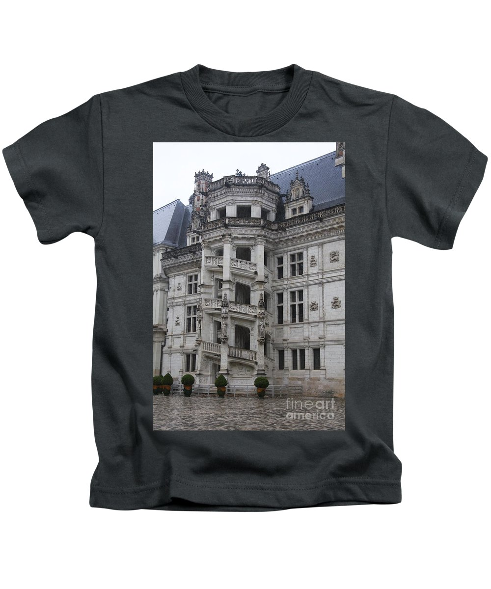 Stairs Kids T-Shirt featuring the photograph Spiral Staircase Chateau Blois by Christiane Schulze Art And Photography