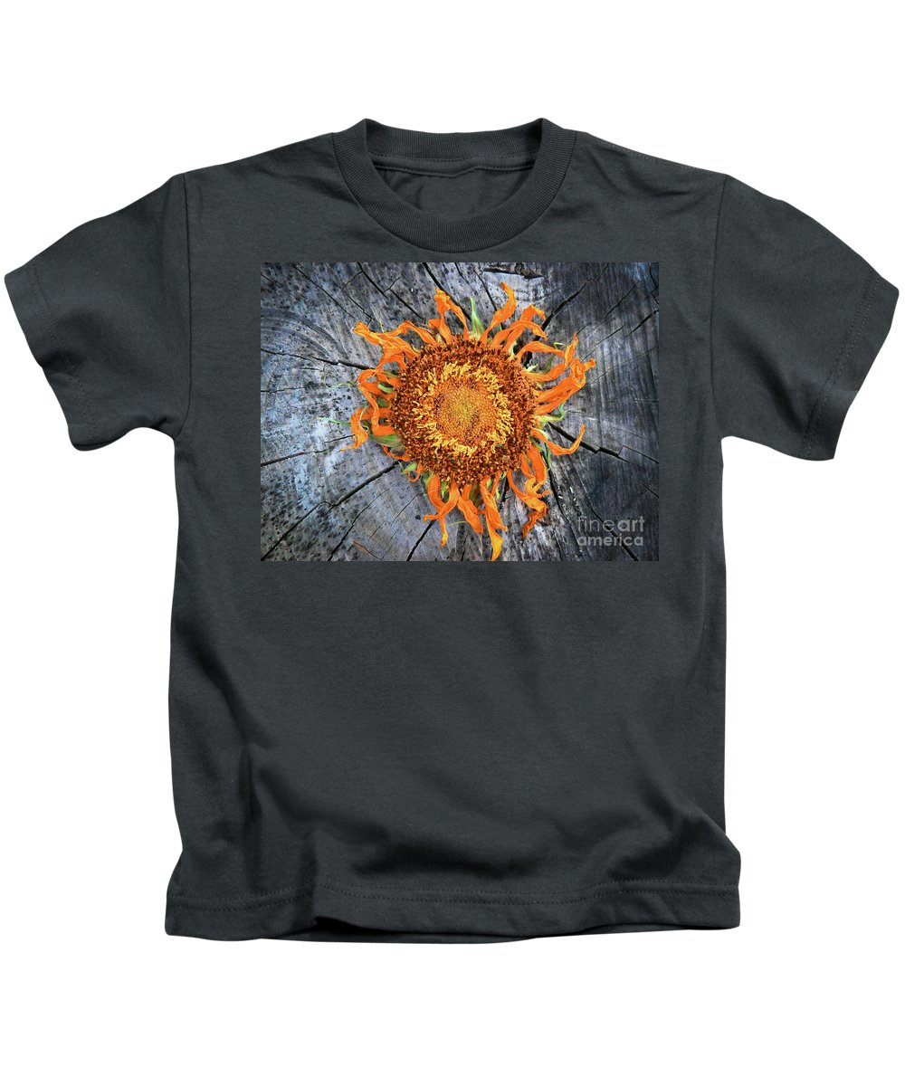 Abstract Kids T-Shirt featuring the photograph Split Sunflower by Angela Wright