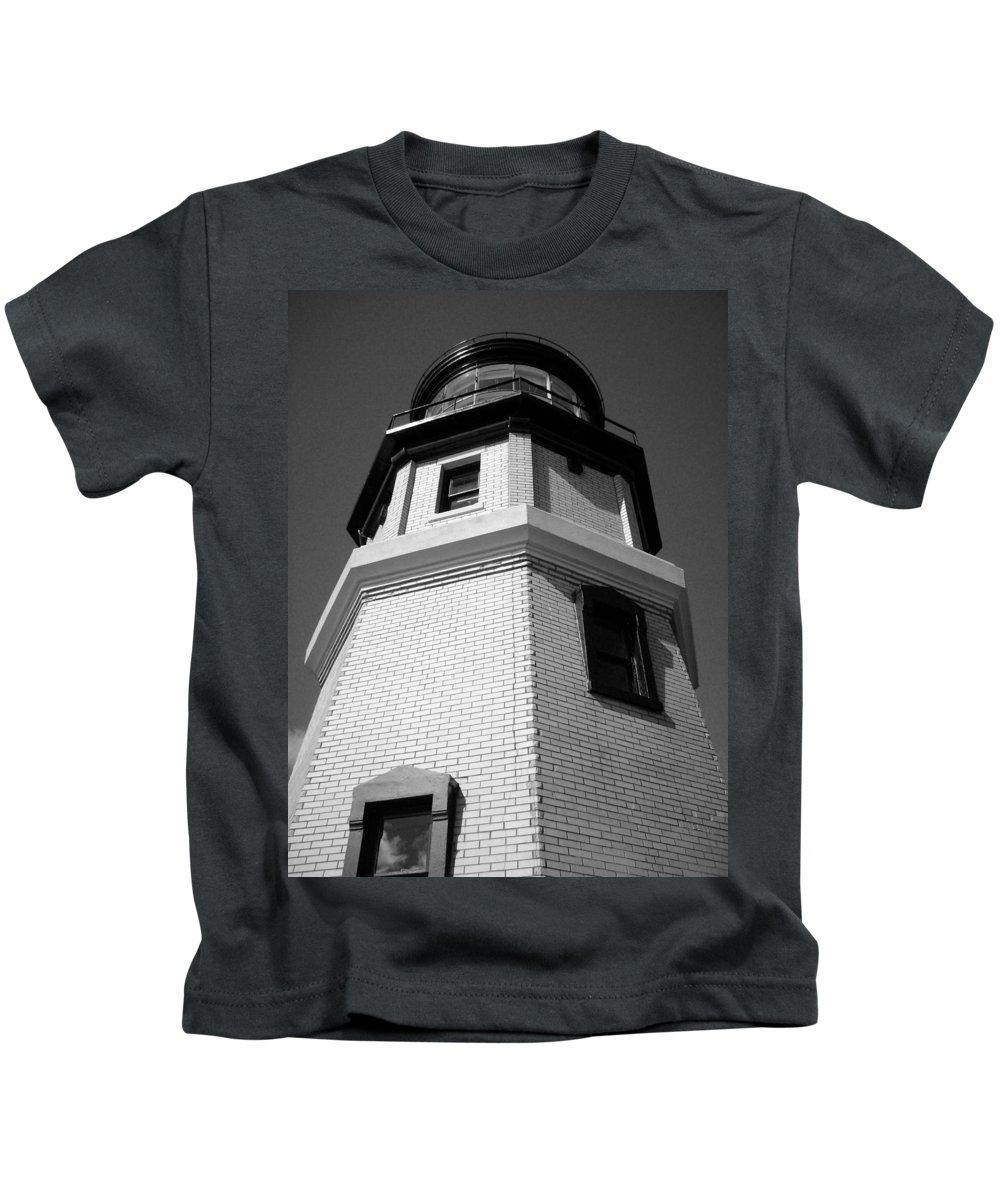 Split Kids T-Shirt featuring the photograph Splitrock Lighthouse 3 Bw by Joshua Thompson