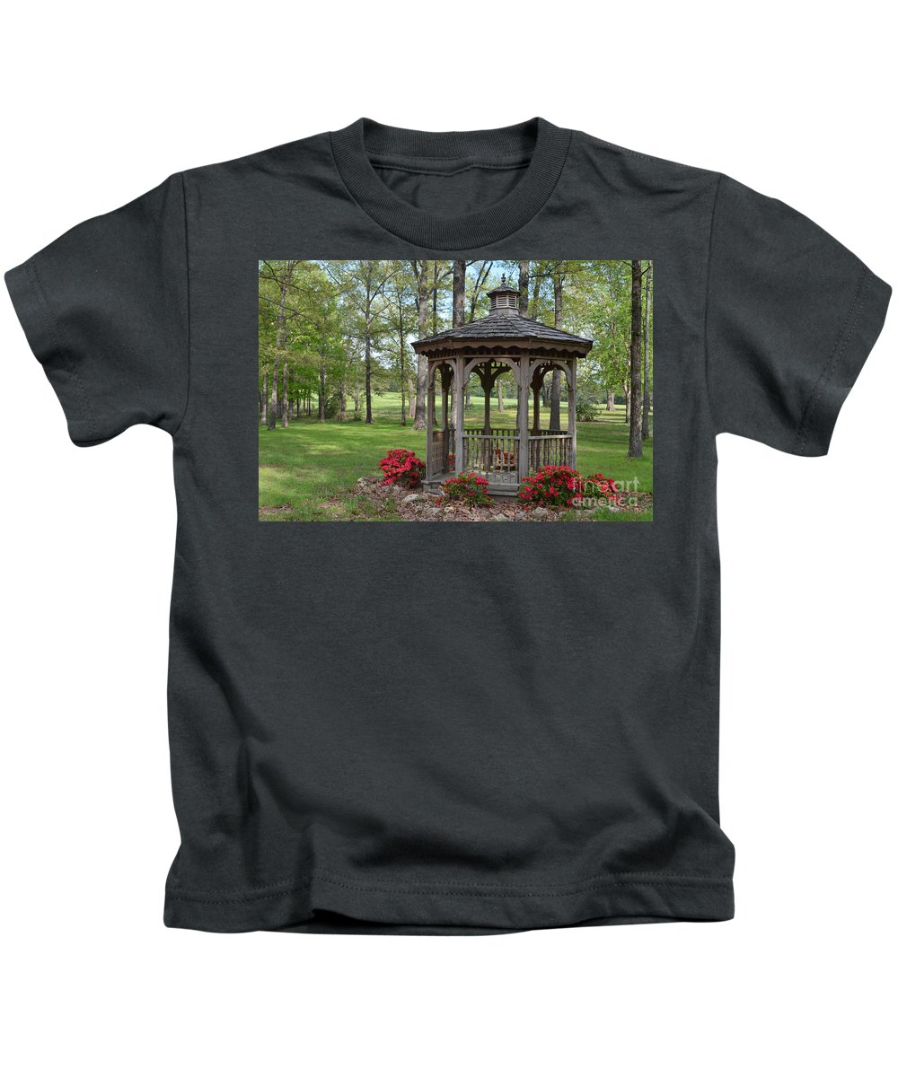 Nature Kids T-Shirt featuring the photograph Spring Gazebo by Debbie Portwood
