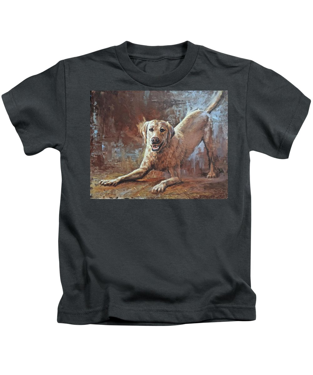 Yellow Lab Kids T-Shirt featuring the painting Spring Loaded by Mia DeLode
