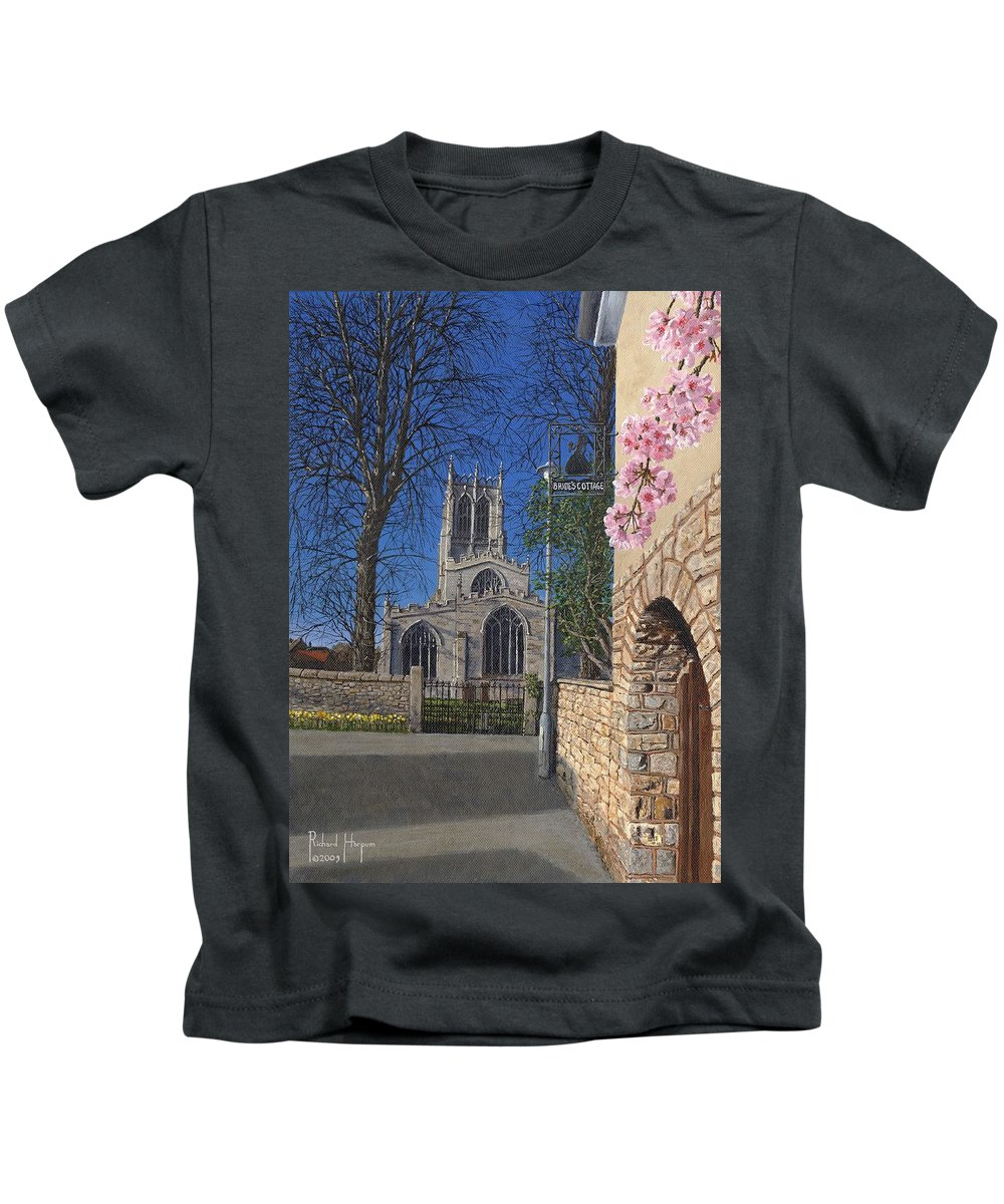 Landscape Kids T-Shirt featuring the painting Spring Morning Brides Cottage Tickhill Yorkshire by Richard Harpum