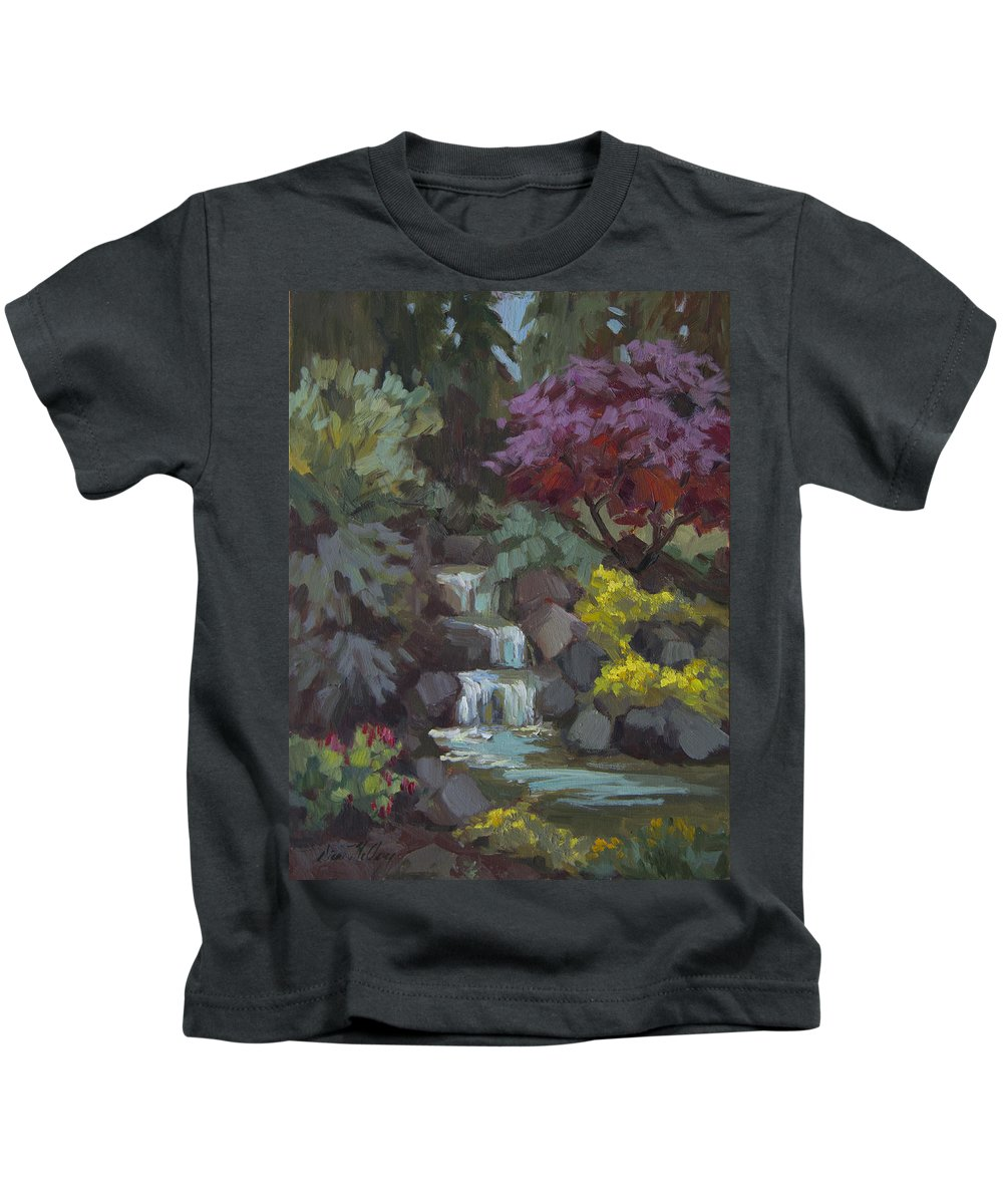 Spring Kids T-Shirt featuring the painting Spring Waterfall by Diane McClary