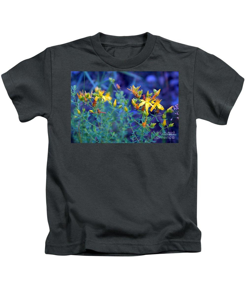John St Wort Kids T-Shirt featuring the photograph St John's Wort In The Forest by Violeta Ianeva