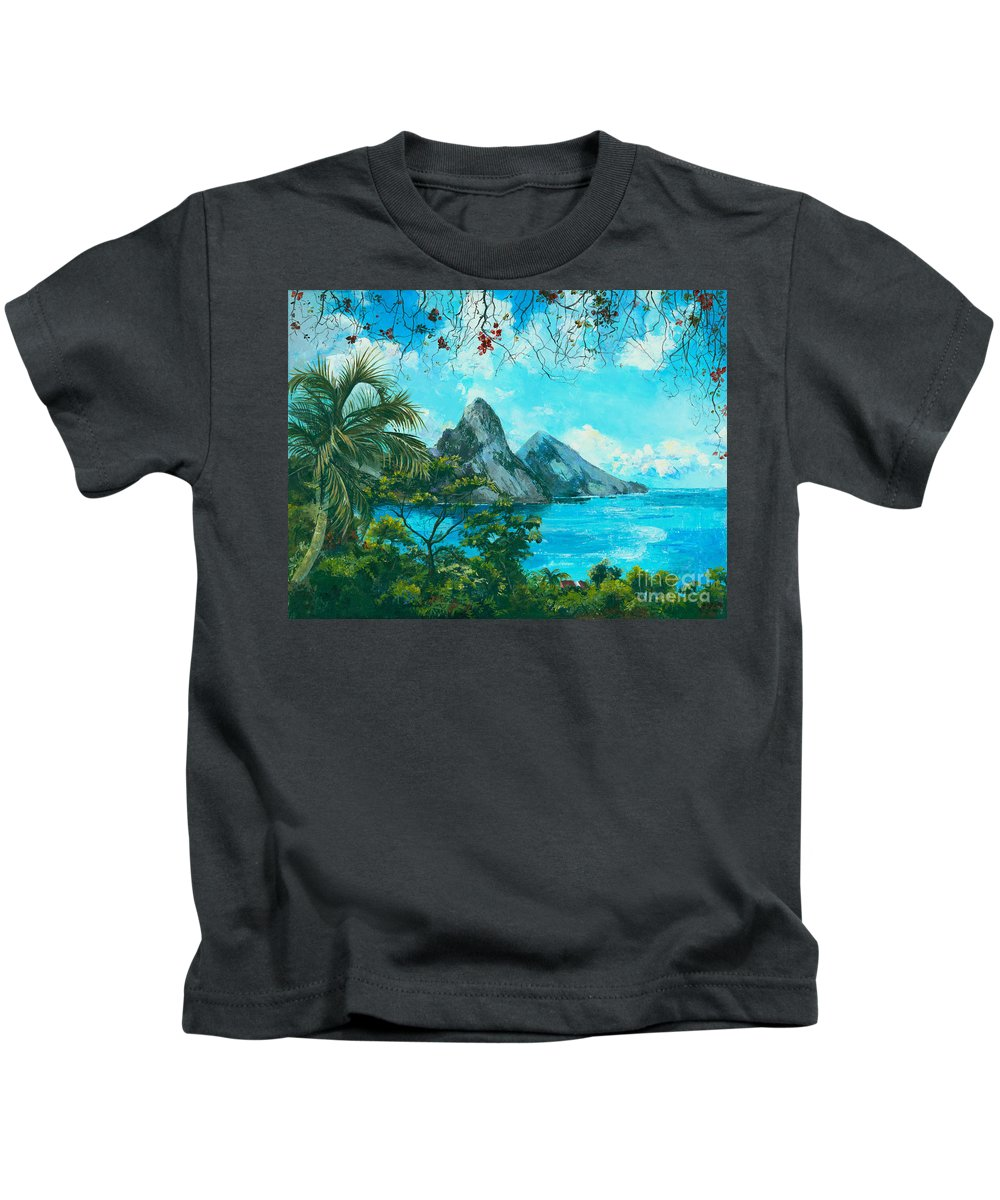 Mountains Kids T-Shirt featuring the painting St. Lucia - W. Indies by Elisabeta Hermann