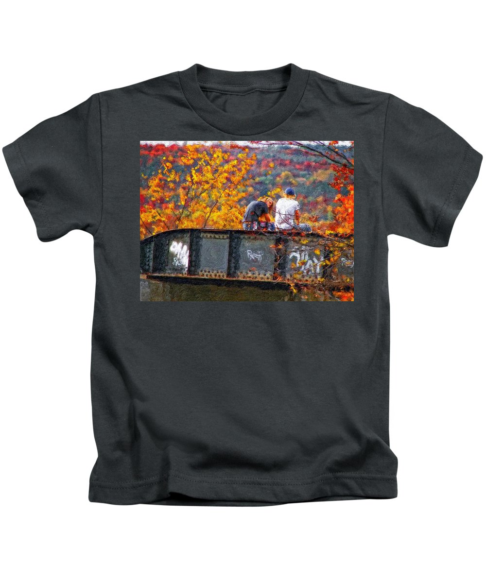 Railway Kids T-Shirt featuring the photograph Stand By Me Impasto by Steve Harrington