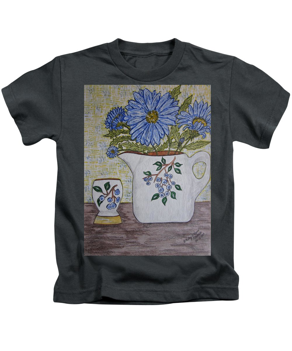 Stangl Blueberry Pottery Kids T-Shirt featuring the painting Stangl Blueberry Pottery by Kathy Marrs Chandler